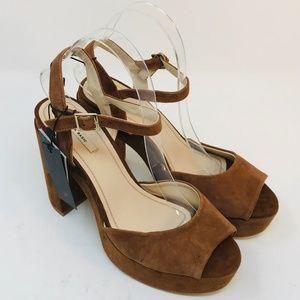 Zara Peep Toe Chunky Heels Size 39 UK 8 US Leather